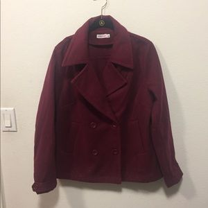 Burgundy Pea Coat Jacket